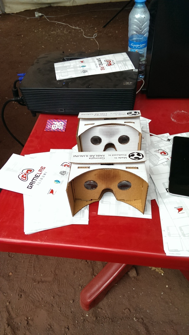 Virtual reality headsets made by students on display at the Scientific Picnic at Vake Park in Tbilisi