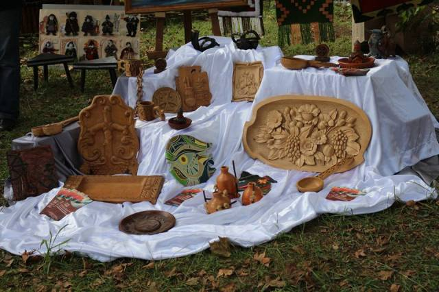A craft display at the Song about Samegrelo Festival