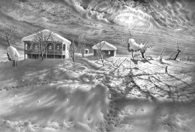 An Imeretian winter by Georgian artist Guram Dolenjashvili