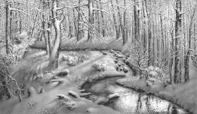 An Imeretian winter scene by Georgian artist Guram Dolenjashvili