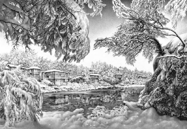 A winter scene by Georgian artist Guram Dolenjashvili