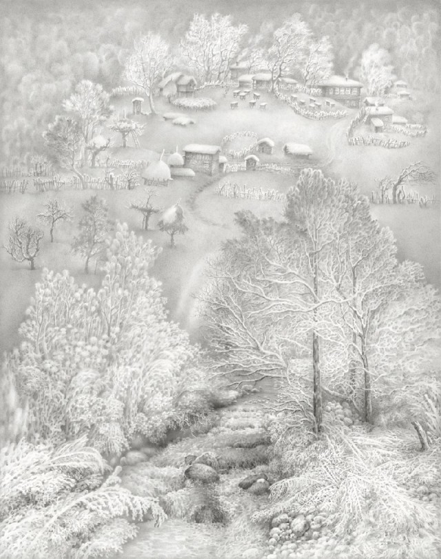 A winter scene by Georgian artist Guram Dolenjashvili