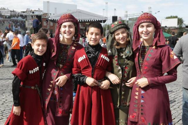 Wearing traditional dress on Georgian Wine Day