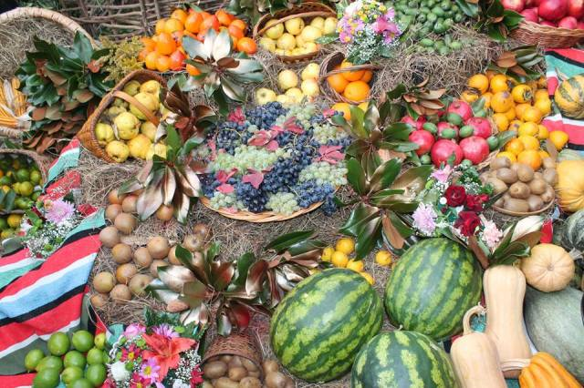 Autumn fruits and vegetable display at the Egrisoba 2015 festival