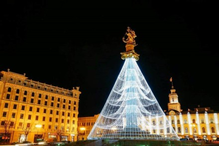 Christmas illuminations in Tbilisi's Freedom Square