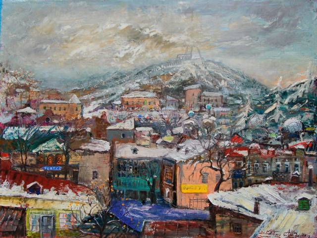 """Mtatsminda in Mist"" - oil on canvas by Giorgi (Gogya) Kukhalashvili"