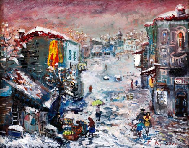 """Pink Snow"" - oil on canvas by Giorgi (Gogya) Kukhalashvili"
