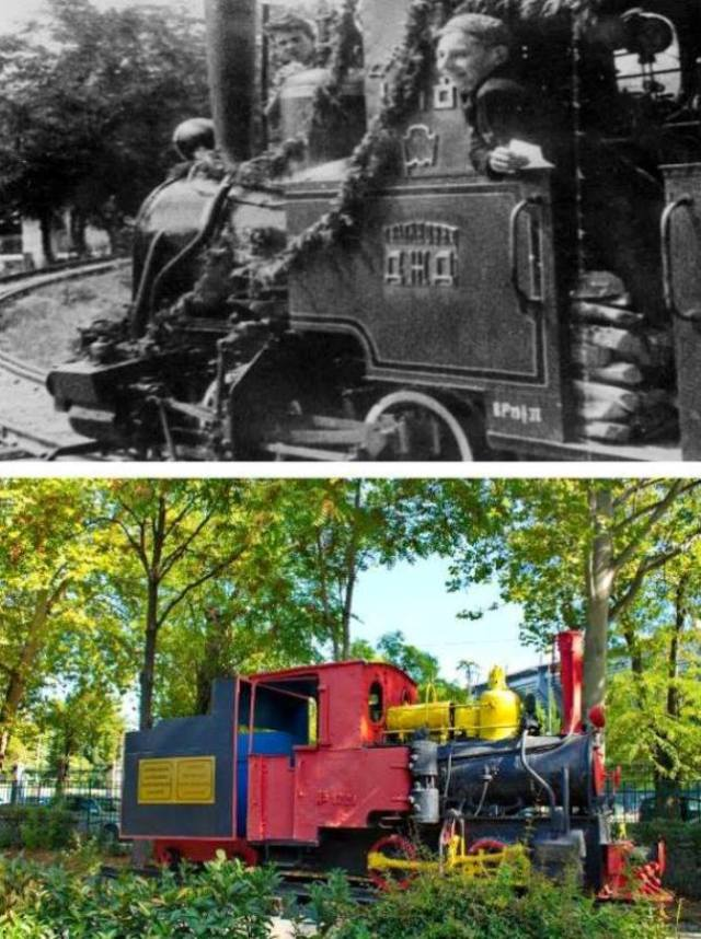 The Children's Railway in Mushtaid Garden - then and now