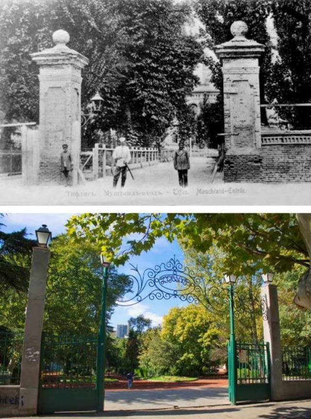 Mushtaid Garden in Tbilisi in the late 19th century and now